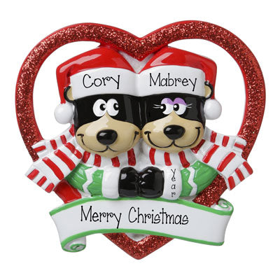 Black Bear Couple in a Red Glittered Heart-Personalized Ornament