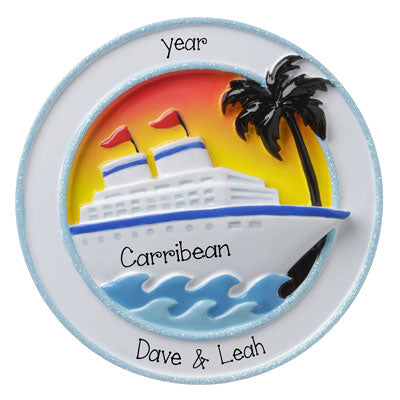 CRUISE SHIP with Palm Tree and Setting Sun- Personalized Ornament