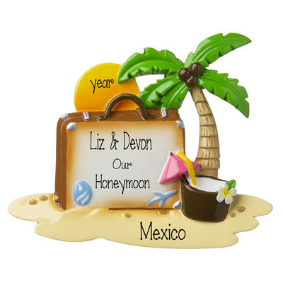 Honeymoon-Suitcase with Palm Tree and Setting Sun- Personalized Ornament