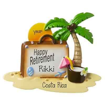 Retirement-Suitcase with Palm Tree and Setting Sun- Personalized Ornament