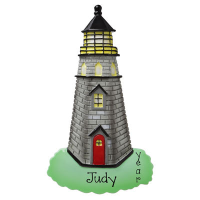 gray lighthouse personalized ornament