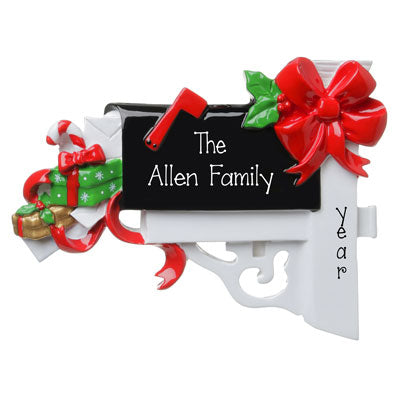 BLACK MAILBOX with Presents Personalized Christmas Ornament
