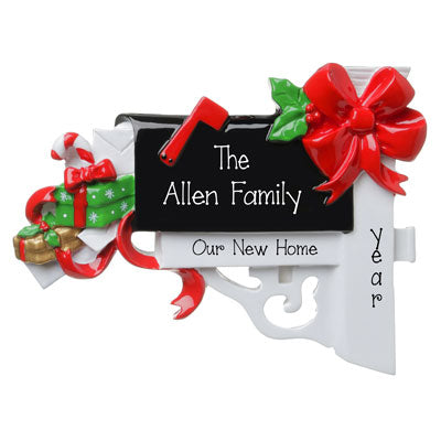 new home black mailbox with presents personalized ornament