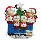 Caroling Family of 4 in front of Christmas Tree and Glittered Star-Personalized Ornaments