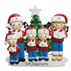 Caroling Family of 5 in front of Christmas Tree and Glittered Star-Personalized Ornaments