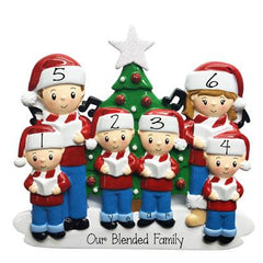 Caroling Family of 6 in front of Christmas Tree and Glittered Star-Personalized Ornaments