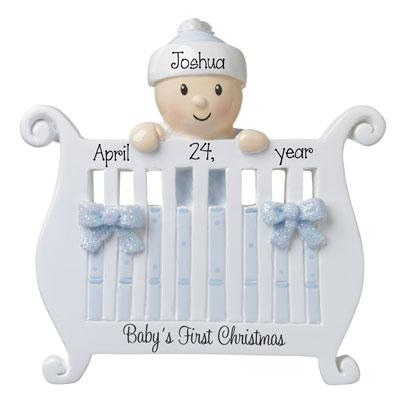 Baby Boy's 1st Christmas in Crib-Personalized Ornament