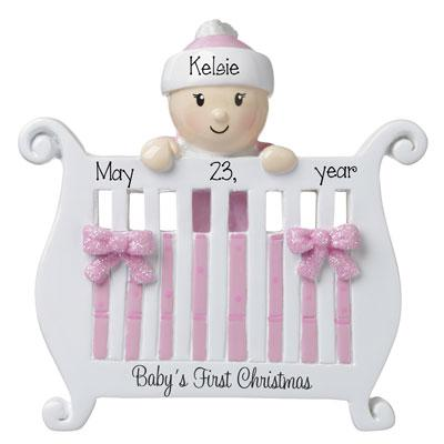 Baby Girl's 1st Christmas in Crib-Personalized Ornament