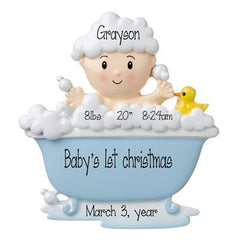 Baby boy in a blue Bathtub with bubbles and a rubber Ducky -Personalized Ornament