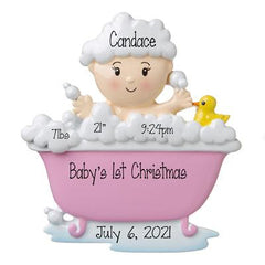 Baby Girl in a Pink Bathtub with bubbles and a rubber Ducky -Personalized Ornament