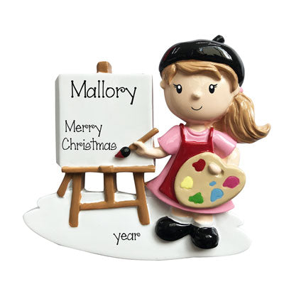 female artist personalized ornament