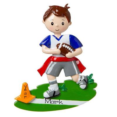 Boy Playing Flag Football-Personalized Christmas Ornament