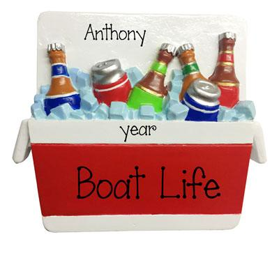 cooler with beer and soda-Personalized Ornament