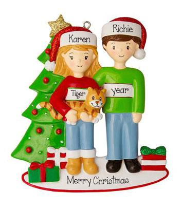 Couple with a Tabby Cat and Christmas Tree~Personalized Ornament