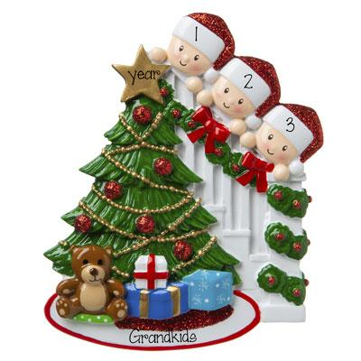 3 Grandkids peeking at the Christmas Tree-Personalized Ornament
