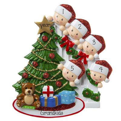 5 Grandkids peeking at the Christmas Tree-Personalized Ornament