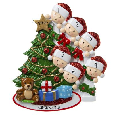 6 Grandkids peeking at the Christmas Tree-Personalized Ornament