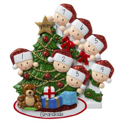 7 Grandkids-peeking at the Christmas Tree-Personalized Ornament