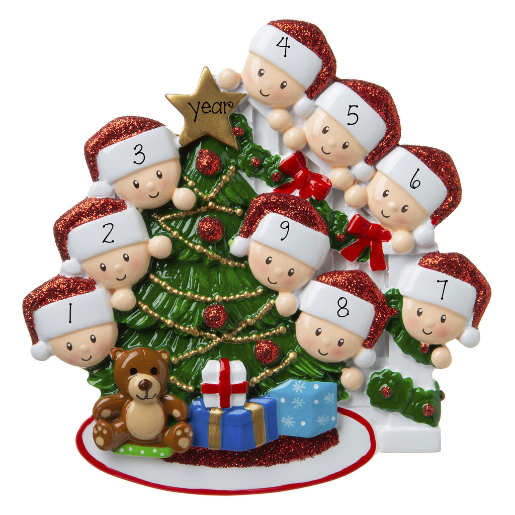Family of 9-Peeking at the Christmas tree-Personalized Ornament