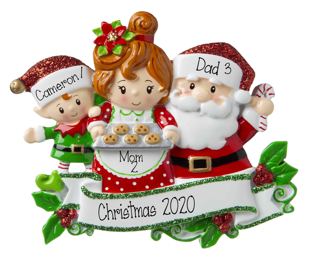Santa & Mrs. Claus Family of 3-Personalized Ornaments