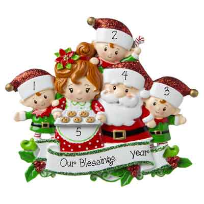 Grandpa & Grandma Claus w/ 3 Grandchild-Personalized Ornament