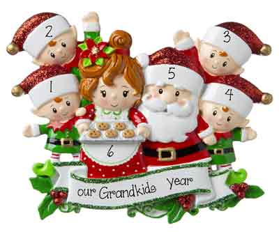 Grandpa & Grandma Claus w/ 4 Grandkids-Personalized Ornament