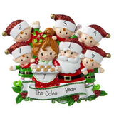 Mr. & Mrs. Claus family of 7 baking cookies personalized ornaments