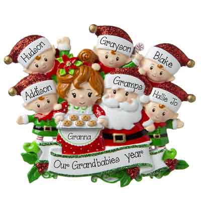 Grandpa & Grandma Claus with 5 Grandkids-Personalized Ornament
