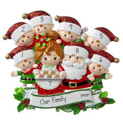 Mr. & Mrs. Claus family of 8 baking cookies personalized ornaments
