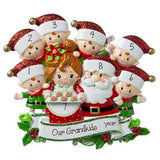 Grandpa & Grandma Claus w/ 6 Grandchild-Personalized Ornament
