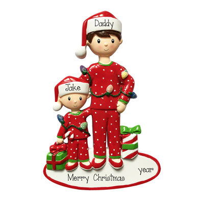 Single Dad with one Child~Personalized Christmas Ornament