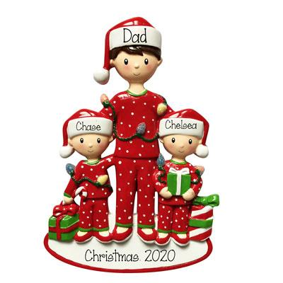 Christmas Morning Single Dad with 2 Kids-Personalized Ornaments