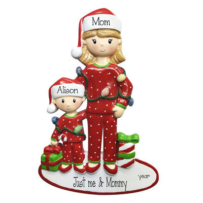 Single Mom with one Child-~Personalized Christmas Ornament