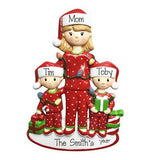 Christmas morning Single mom with 2 Kids-Personalized Ornaments