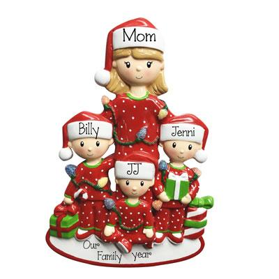 Christmas Morning Single Mom with 3 Kids-Personalized Ornaments