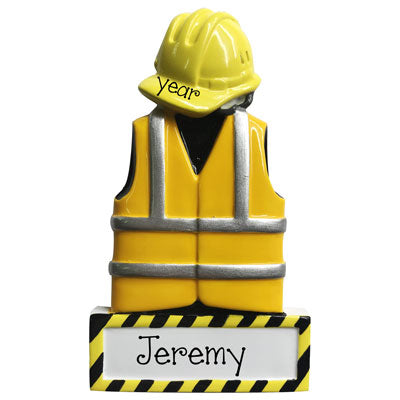 Construction with yellow vest and hat-Personalized Ornament