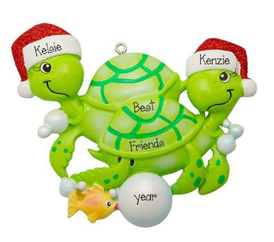 Turtle Best Friends with Red Glitter Santa Hats~Personalized Ornament