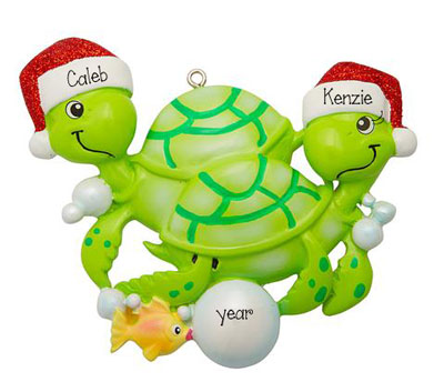 Green Turtle Couple with Red Glitter Santa Hats~Personalized Christmas Ornament