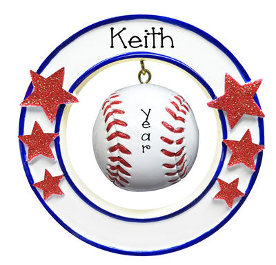 Baseball hanging in a circle with red glitter starspersonalized ornament