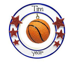 Basketball hanging in a circle with red glitter star-personalized ornament