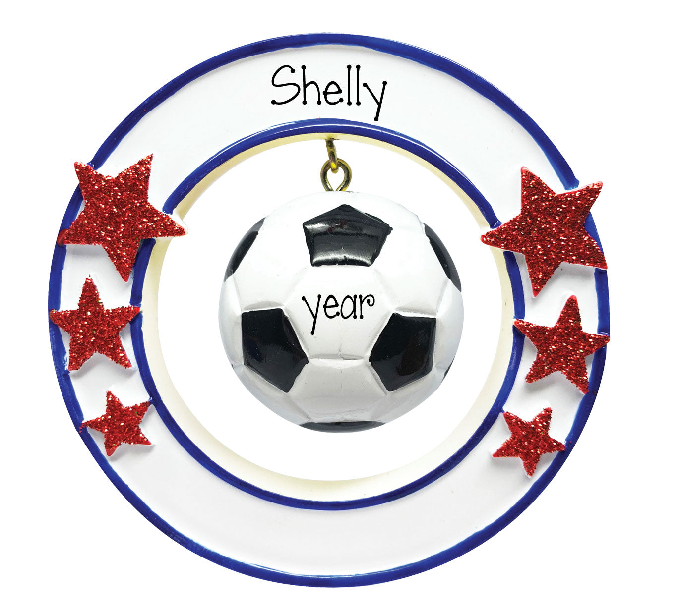 soccer hanging in a circle with red glitter starspersonalized ornament