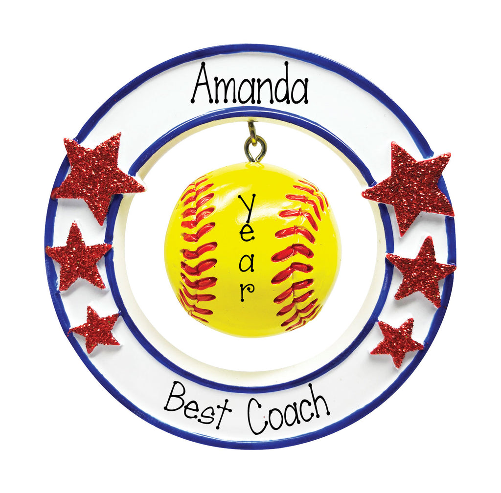 Personalized 3-Dimensional Softball Christmas Ornament