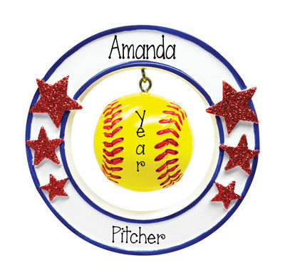Personalized 3-Dimensional Softball Ornament