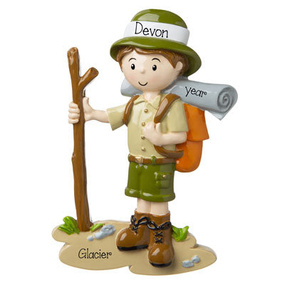 Male Hiker with stick in hand personalized ornament