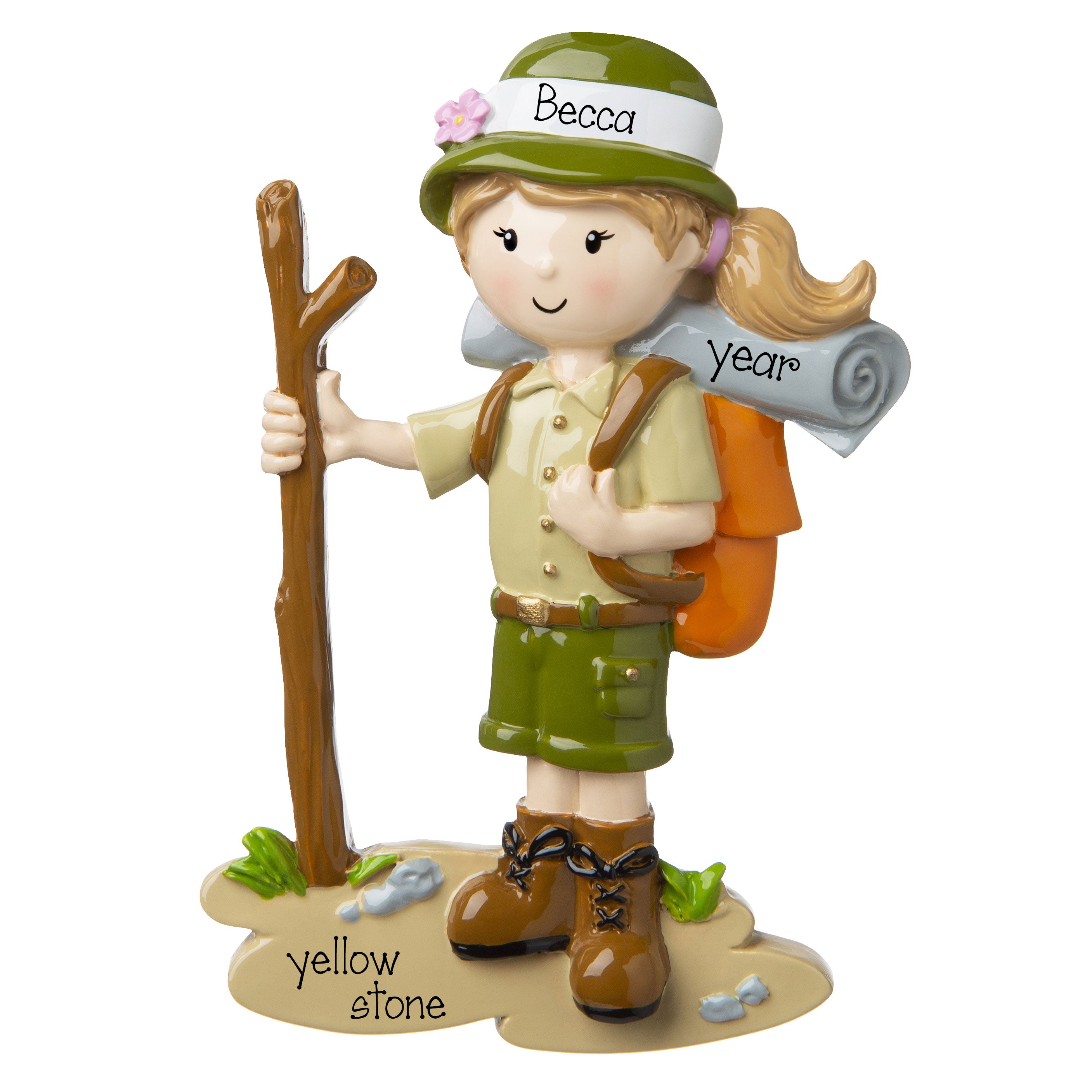 FeMale Hiker with stick in hand personalized ornament