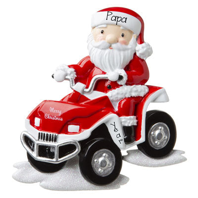 sANTA on a atv 4 wheeler personalized ornament
