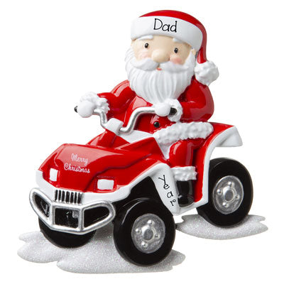 Personalized Santa on 4-Wheeler ATV Ornament