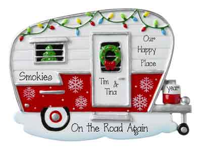 Red and White Camper Decorated in Christmas lights-Personalized Ornament