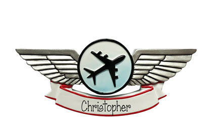 Pilot wings personalized ornament
