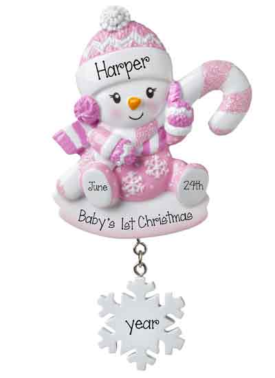 Pink Snowbaby with Pink Glittered Candy Cane-Personalized Ornament